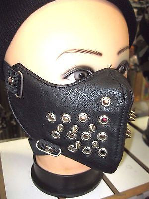 Spiked Black Mask Motorcycle Goth Punk Bondage PaintBall Gothic Metal-New!v1