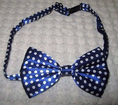Kids Boys Girls Children Blue with White Polka Dots Adjustable Bow Tie-New!