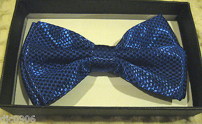 Solid Blue Diamond Mesh Pattern Bow Tie & Blue Glitter Y-Back Suspenders Set