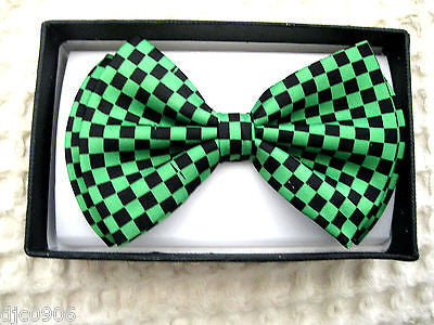 Punk Green Black Checkers Adjustable Bowtie+Green Checkers Suspenders Combo-New
