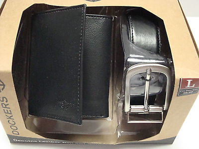 DOCKERS Trifold Leather Wallet,Reversible Leather Soft-Touch Leather Belt-Large