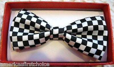 Kids Boys Girls Black and White Checkers Checkered Adjustable Bow Tie-New!