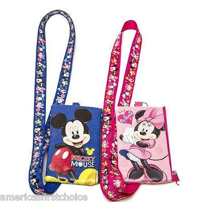 DISNEY MINNIE & MICKEY MOUSE LANYARD WITH DETACHABLE COIN POUCH/WALLET/PURSE-NEW