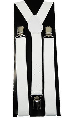 Unisex WHITE Adjustable Y-Style Back suspenders-New in Pkg! WHITE SUSPENDERS