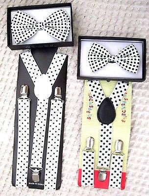 Father & Son Solid Black Adjustable Bow Tie & Black Adjustable Suspenders Combo