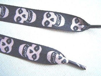 Black with White Misfits Skulls Rockabilly Punk Premium Shoe laces Shoelaces-New
