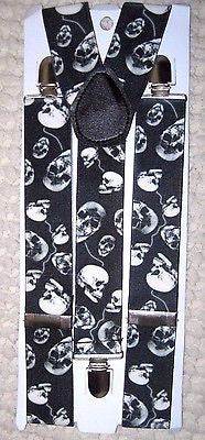 Unisex BLACK WHITE DANCING DIFFERENT DIRECTIONS SKULLS Y-Back suspenders-New!