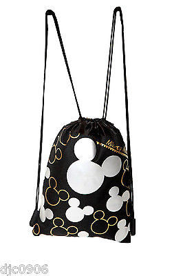 MICKEY MOUSE SILVER & BLACK SHAPES DRAWSTRING BAG BACKPACK TRAVEL STRING POUCH