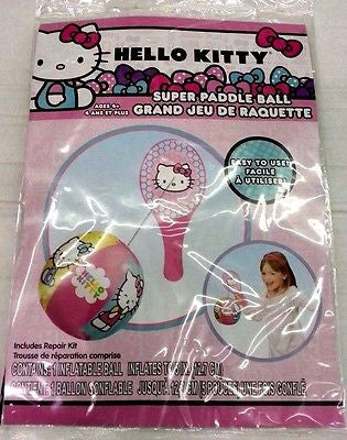 Sanrio Hello Kitty Paddle Beach Ball-Hello Kitty Paddleball-Brand New in Pkge!