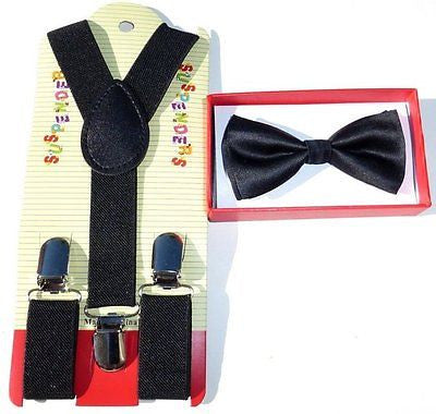 Kids Black Beige Red Plaid Bow Tie & Black Y-Back Adjustable Suspenders Combo