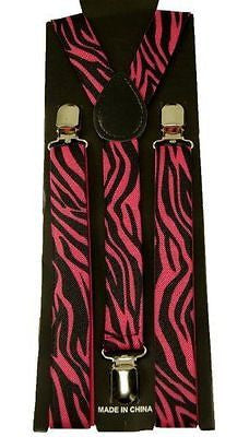 Zebra Animal Print Pink Black SUSPENDERS Y-Back Adjustable Suspenders-New!