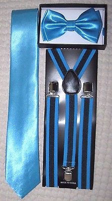 French Blue Adjustable Bow Tie,Neck Tie, & Black+French Blue Stripes Suspenders