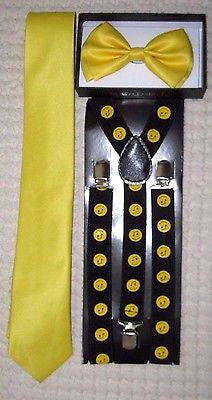 Yellow Adj Bow tie&Necktie & Black w/Yellow Music Notes Smiley faces Suspenders