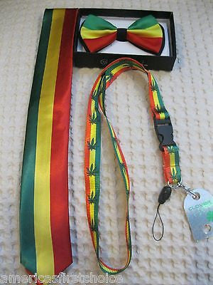 Rasta Stripes Bow Tie,Rasta NeckTie,Rasta Stripes Peace Sign Suspenders&Lanyard