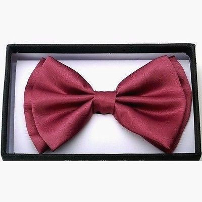 BURGUNDY NAVY BLUE STRIPES TUXEDO ADJUSTABLE  BOW TIE BOWTIE-NEW IN GIFT BOX!