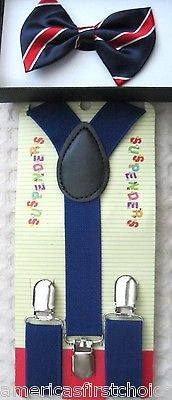 Kids Boys Girls Musical Notes Adjustable Bow Tie & Music Notes suspenders-New!