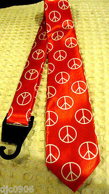 "Unisex Red with White Peace Signs Neck tie 57"" L x 3"" W-Peace Sign Neck Tie-New!"
