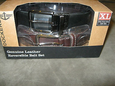 DOCKERS Leather Soft-Touch Leather Two Belt Lot Black & Brown Belts -XLarge