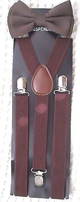 Shiny Brown Adjustable Bow tie & Brown Y-Back Adjustable Suspenders Combo-New!v2