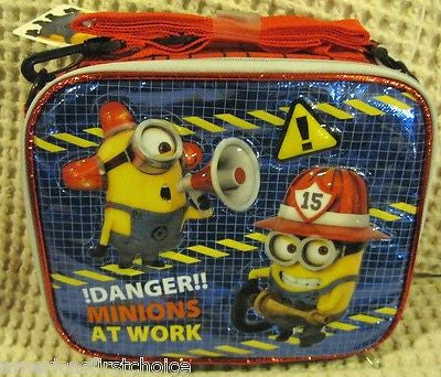 "Despicable Me 2 Minions At Work Firemen 9.5"" Lunch Box Lunch Bag+Minions Lanyard"
