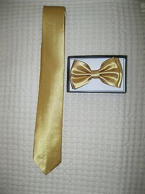 Solid Gold Adjustable Bow tie,Gold Neck tie,and Gold Glittered Suspsenders Combo