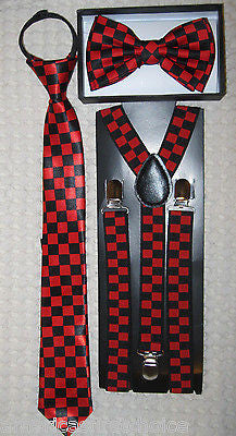 Kids Teens Burgundy Stripes Adjustable Bow Tie&Teens Burgundy Y-Back Suspenders
