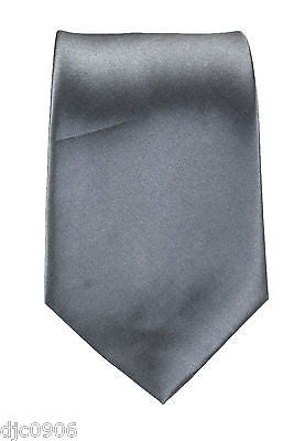 "Unisex Solid Light Gray Silk Feel Polyester Neck tie 56"" L x 3"" W-Gray Tie-New"