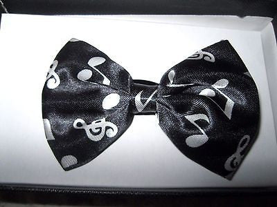 Kids Boys Girls Black with White Musical Notes Adjustable Bow Tie-New in Box!