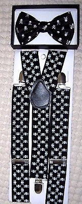 "Unisex Solid White Ajustable Bow tie & 1 1/2"" WIDE Skulls Adjustable Suspenders"