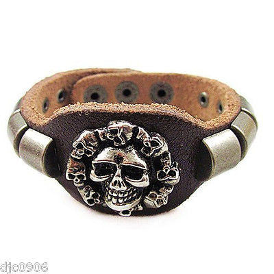 "PUNK GOTH MEN'S WOMEN'S VINTAGE BROWN LEATHER & SKELETON TAG CUFF 8"" BRACELET"