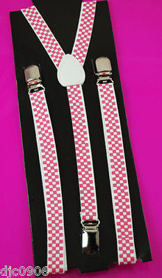 "Unisex Thin 3/4"" Black & White Checkered Adjustable Y-Style Back suspenders-New"