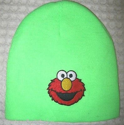 Neon Green with Embroidered Red Elmo Face Hat Cap Beanie Style-New!