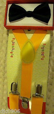 Yellow Kid's Boys Girls Y-Style Back Adjustable Bow Tie & Yellow Kids suspenders