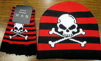 Black & Red Strips White Skull Crossbones Beanie Ski Cap + Matching Gloves -New!