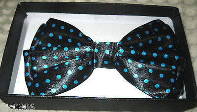 BLUE WITH WHITE POLKA DOTS ADJUSTABLE  BOW TIE-NEW!BLUE POLKA DOT BOW TIE