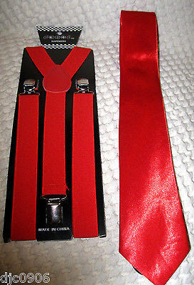"Bright Red Adjustable 57"" Neck Tie & Bright Red Adjustable Suspenders Combo-New"