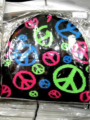 Multi Color Peace Signs Symbols Black Winter Knitted Skull Beanie Ski Cap-New!