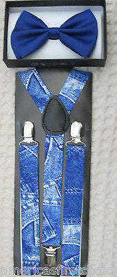 Blue Adjustable Bow tie&Blue Jeans Print Pattern Adjustable Suspenders Combo-New