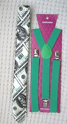 Benjamins Money 100 Dollar Bill Adjustable Necktie&Solid Green Y-Back Suspenders