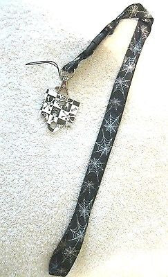 "Small White Spiderweb Design on Black 15"" lanyard for ID Holder & Mobile Device"