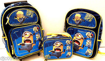 "Despicable Me 2 Jerry Stuart Rolling 16"" Backpack,16"" Backpack& Minion Lunch Box"