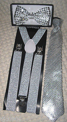 Silver Sequin Adjustable Bow Tie,Neck tie & Silver Sequin Suspenders Set-New!v5