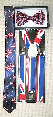 "UK British Flag Adjustable Y-Back Suspenders and UK British 3"" Neck Tie-A2"