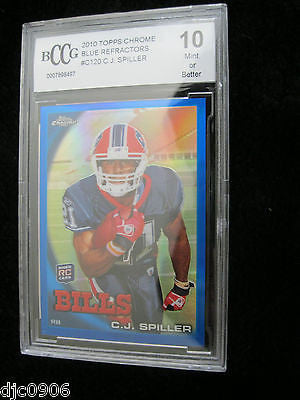 C.J. Spiller RC 2010 Topps Chrome Refractors Rookie Beckett Graded Mint+ BCCG10