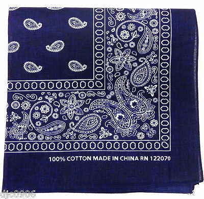 100% Cotton Paisley Navy Blue Bandana Double Sided Head Wrap Scarf Wristband-New