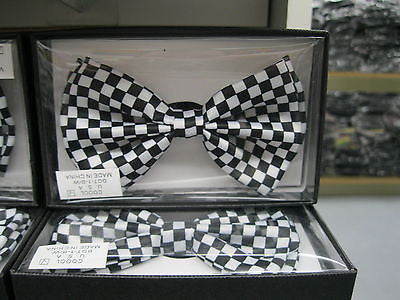 BLACK AND WHITE CHECKERS CHECKERED ADJUSTABLE STRAP BOW TIE-NEW GIFT BOX!