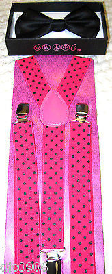 Black with Pink Polka Dot Adjustable Bow tie & Hot Pink Suspenders Combo Set-New