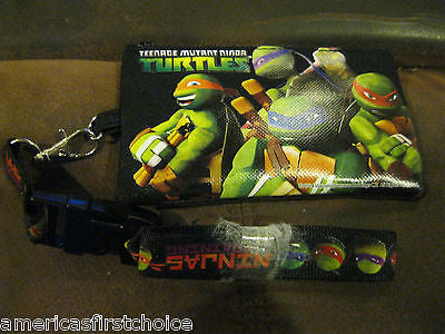 TEENAGE MUTANT NINJA TURTLES DETACHABLE COIN POUCH/WALLET/PURSE & LANYARD-NEW!