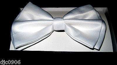 Solid White Adjustable Bowtie & White Red Bow Ties Adjustable Suspenders Combo