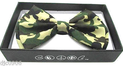 UNISEX MILITARY/ARMY GREEN CAMO CAMOUFLAGE ADJUSTABLE  BOW TIE-NEW GIFT BOX!V2